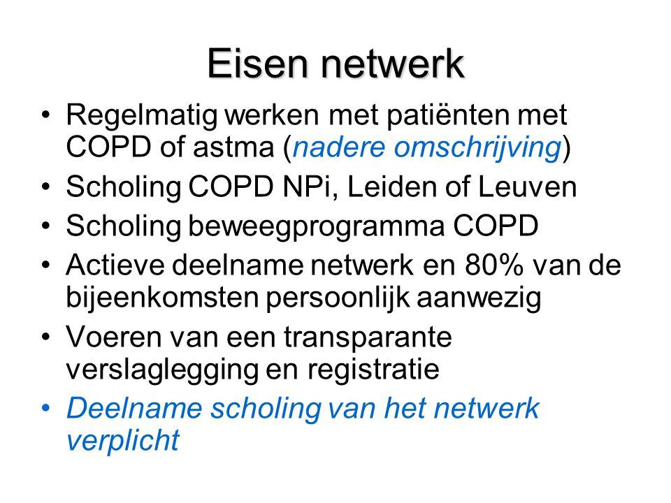 Eisen netwerk Regelmatig werken met patiënten met COPD of astma (nadere omschrijving) Scholing COPD NPi, Leiden of Leuven.