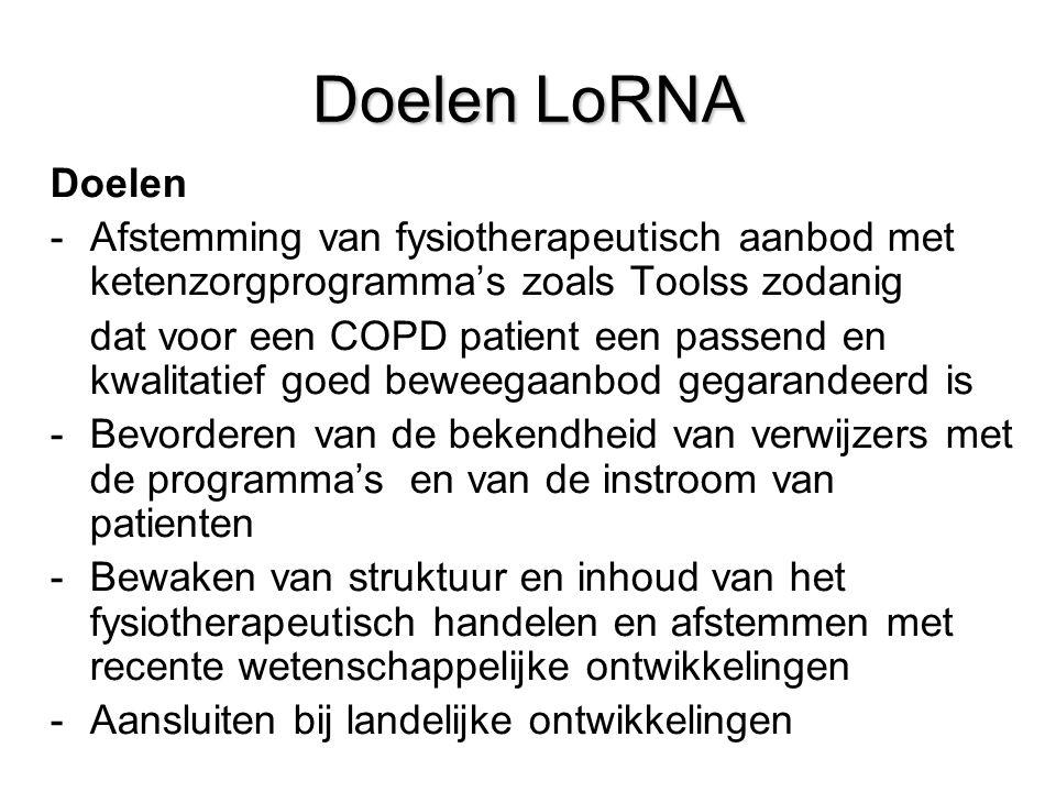 Doelen LoRNA Doelen. Afstemming van fysiotherapeutisch aanbod met ketenzorgprogramma's zoals Toolss zodanig.
