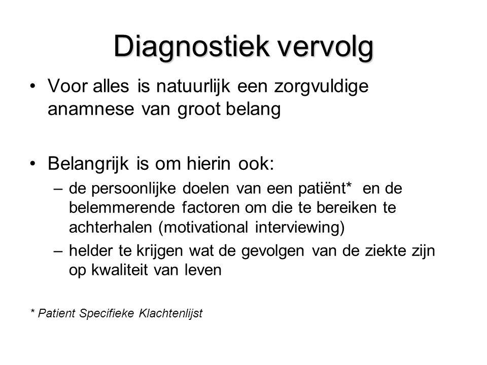 Diagnostiek vervolg Voor alles is natuurlijk een zorgvuldige anamnese van groot belang. Belangrijk is om hierin ook: