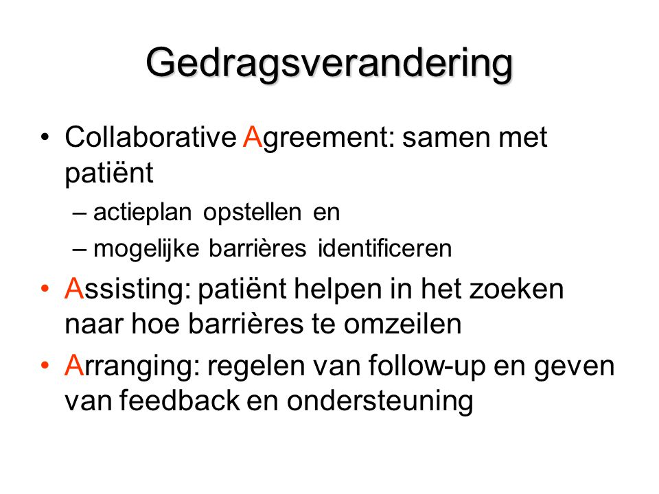 Gedragsverandering Collaborative Agreement: samen met patiënt