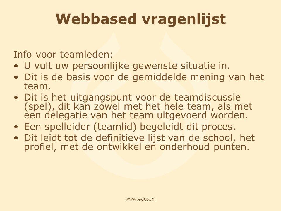 Webbased vragenlijst Info voor teamleden: