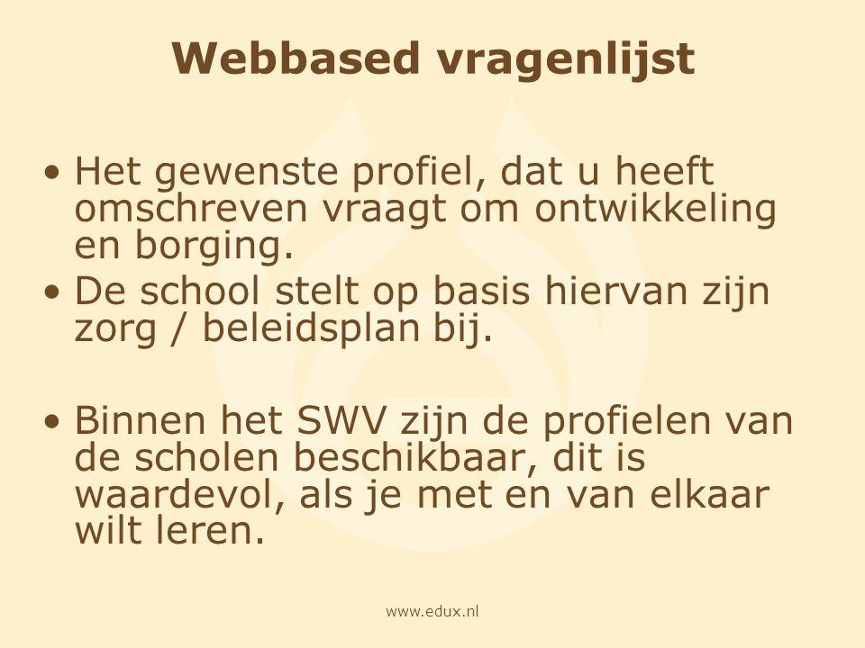 Webbased vragenlijst Het gewenste profiel, dat u heeft omschreven vraagt om ontwikkeling en borging.