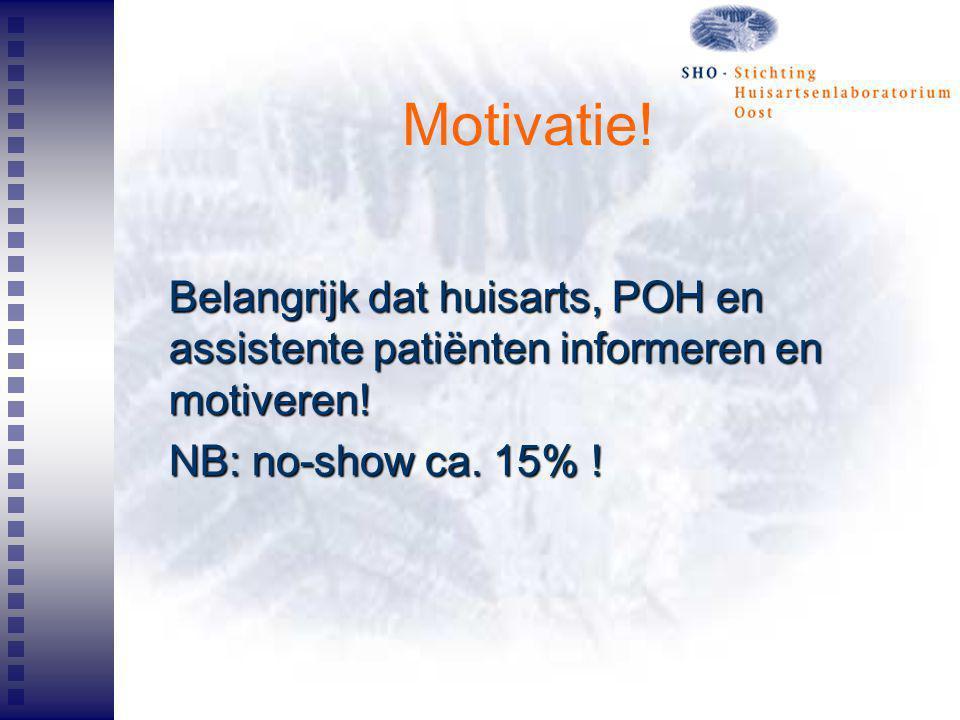Motivatie! Belangrijk dat huisarts, POH en assistente patiënten informeren en motiveren! NB: no-show ca. 15% !