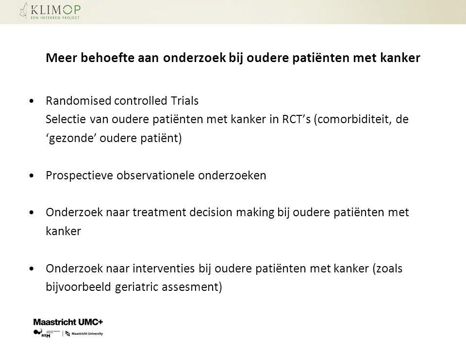 Meer behoefte aan onderzoek bij oudere patiënten met kanker
