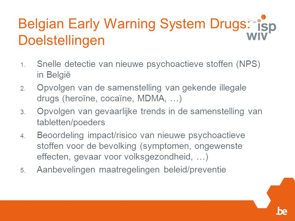 Belgian Early Warning System Drugs: Doelstellingen