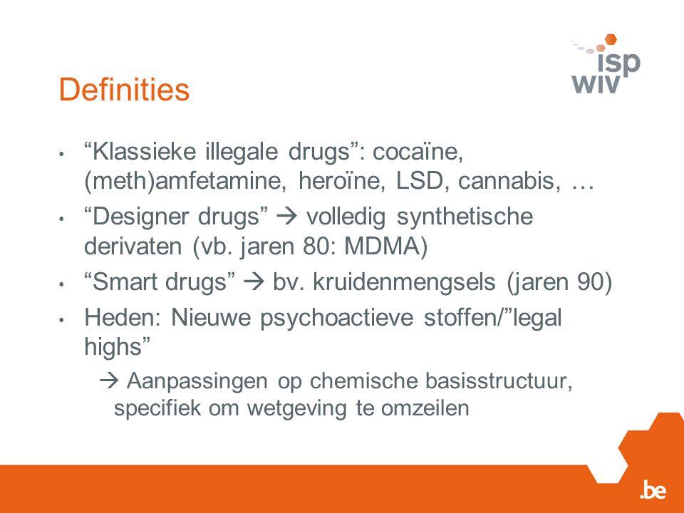 Definities Klassieke illegale drugs : cocaïne, (meth)amfetamine, heroïne, LSD, cannabis, …