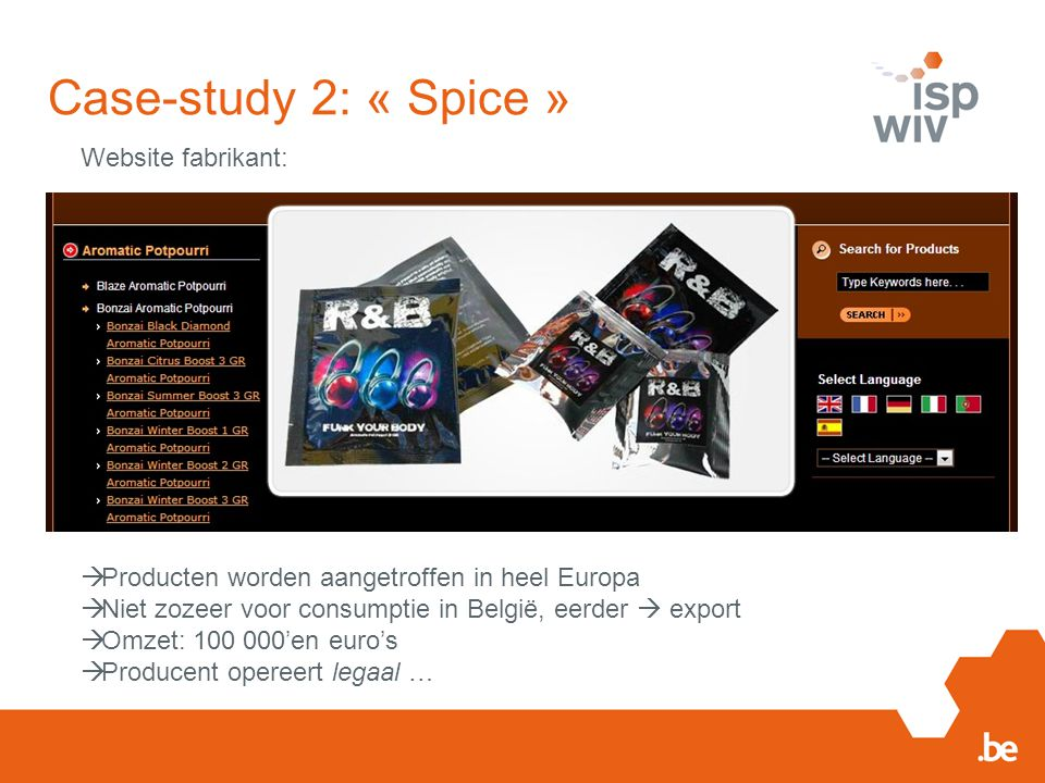 Case-study 2: « Spice » Website fabrikant: