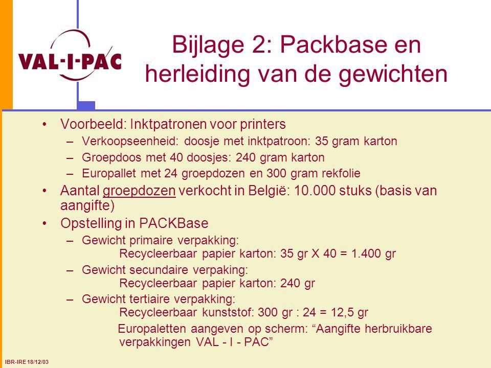 Bijlage 2: Packbase en herleiding van de gewichten