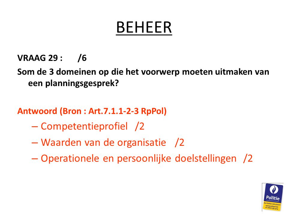 BEHEER Competentieprofiel /2 Waarden van de organisatie /2