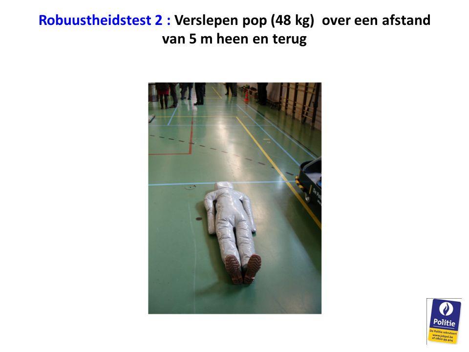 Robuustheidstest 2 : Verslepen pop (48 kg) over een afstand van 5 m heen en terug