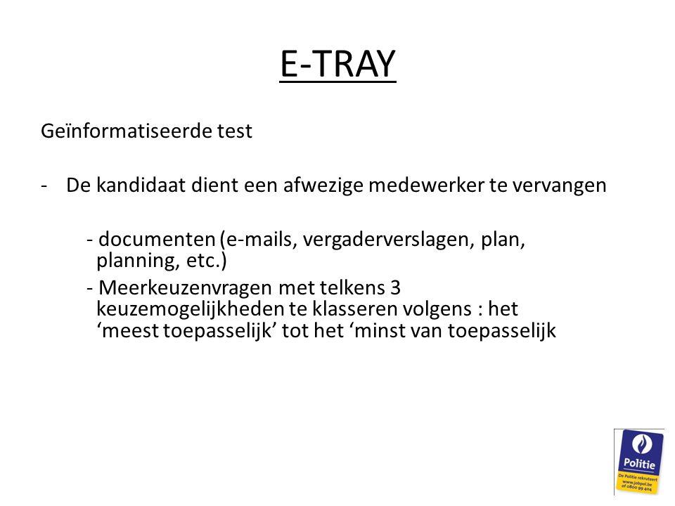 E-TRAY Geïnformatiseerde test
