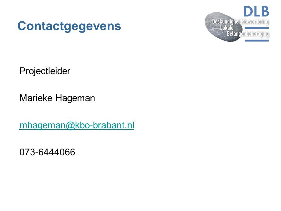 Contactgegevens Projectleider Marieke Hageman mhageman@kbo-brabant.nl