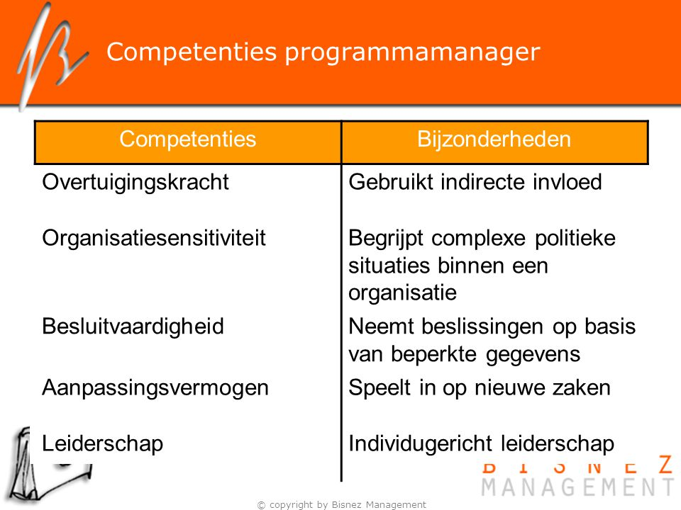 Competenties programmamanager