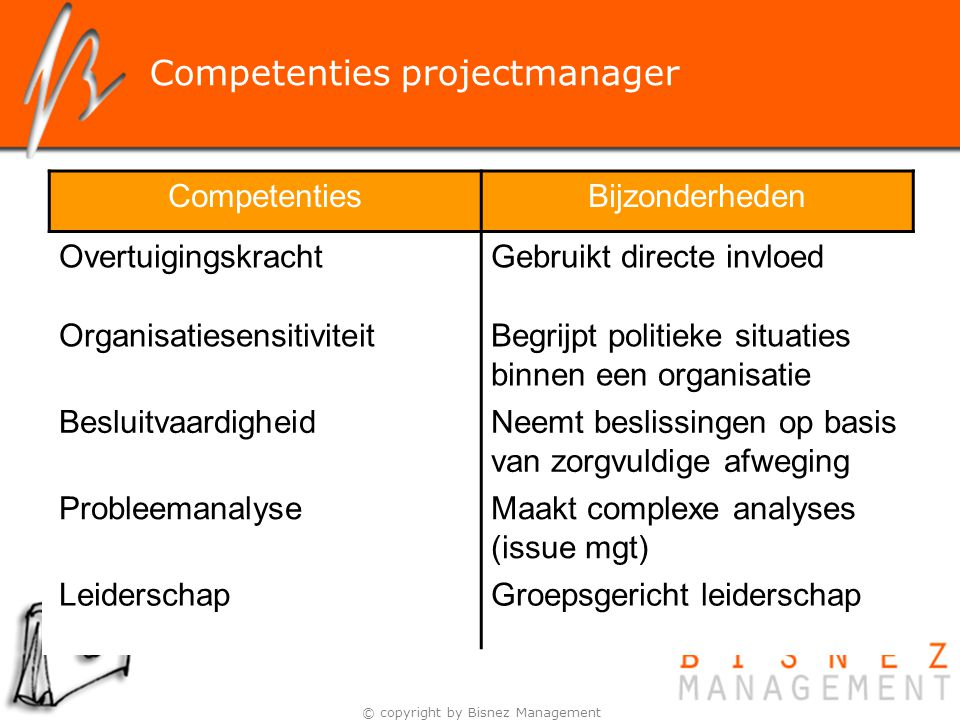 Competenties projectmanager