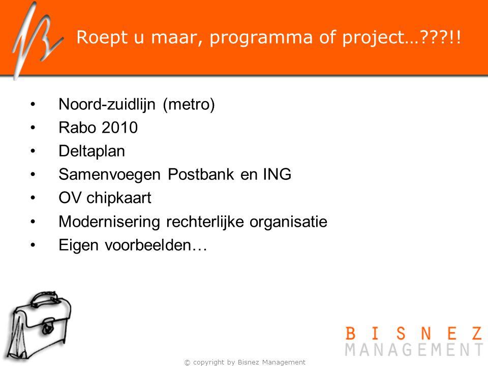 Roept u maar, programma of project… !!