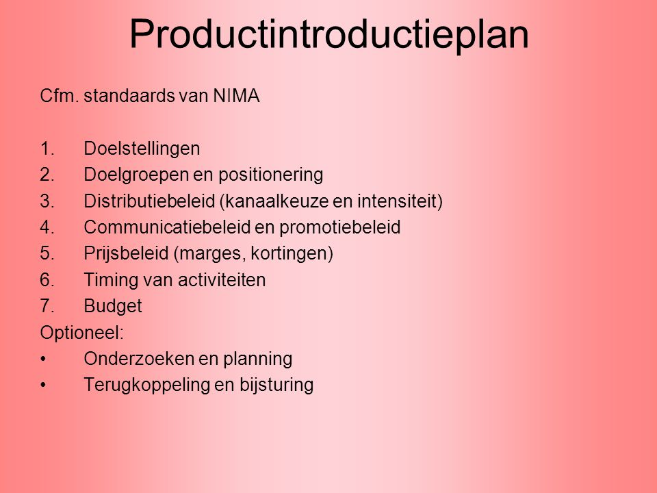 Productintroductieplan