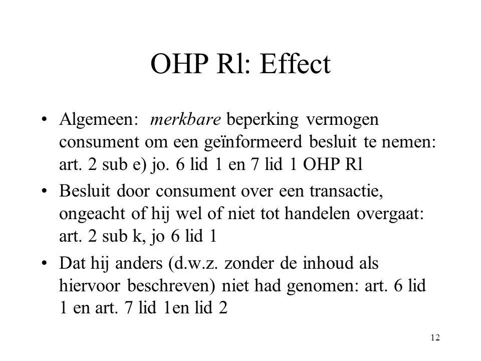 OHP Rl: Effect Algemeen: merkbare beperking vermogen consument om een geïnformeerd besluit te nemen: art. 2 sub e) jo. 6 lid 1 en 7 lid 1 OHP Rl.