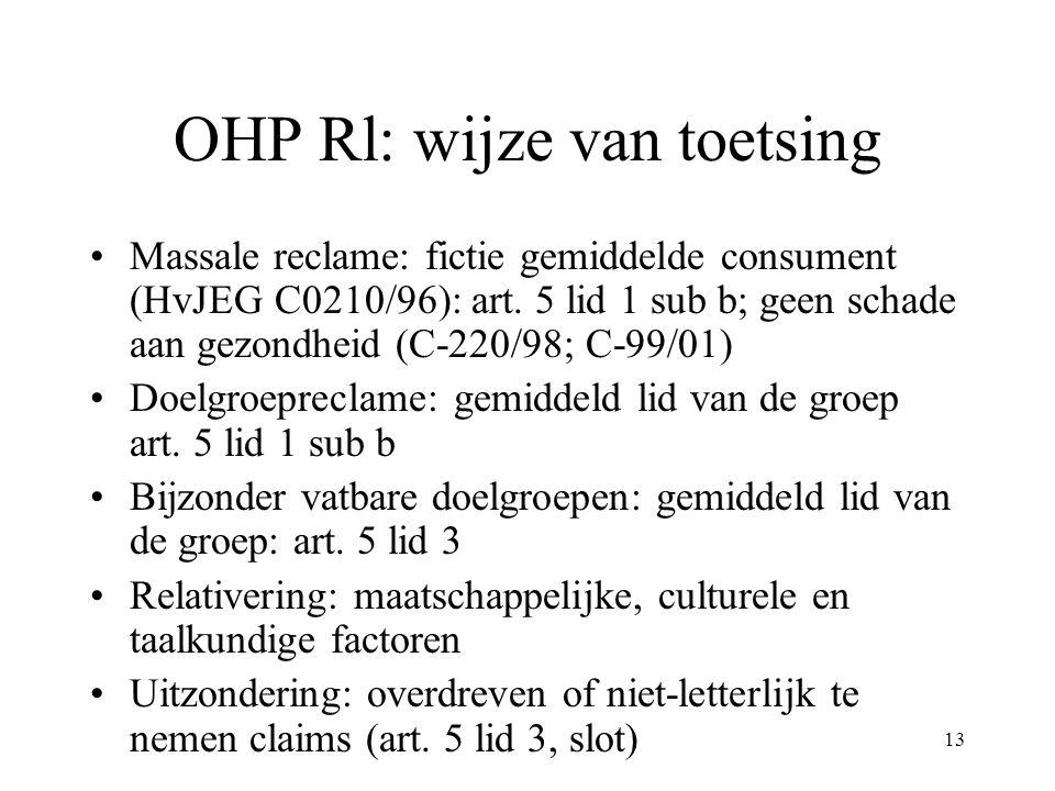 OHP Rl: wijze van toetsing