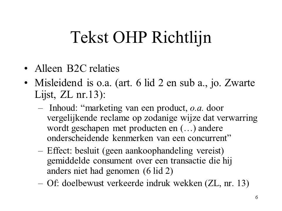 Tekst OHP Richtlijn Alleen B2C relaties