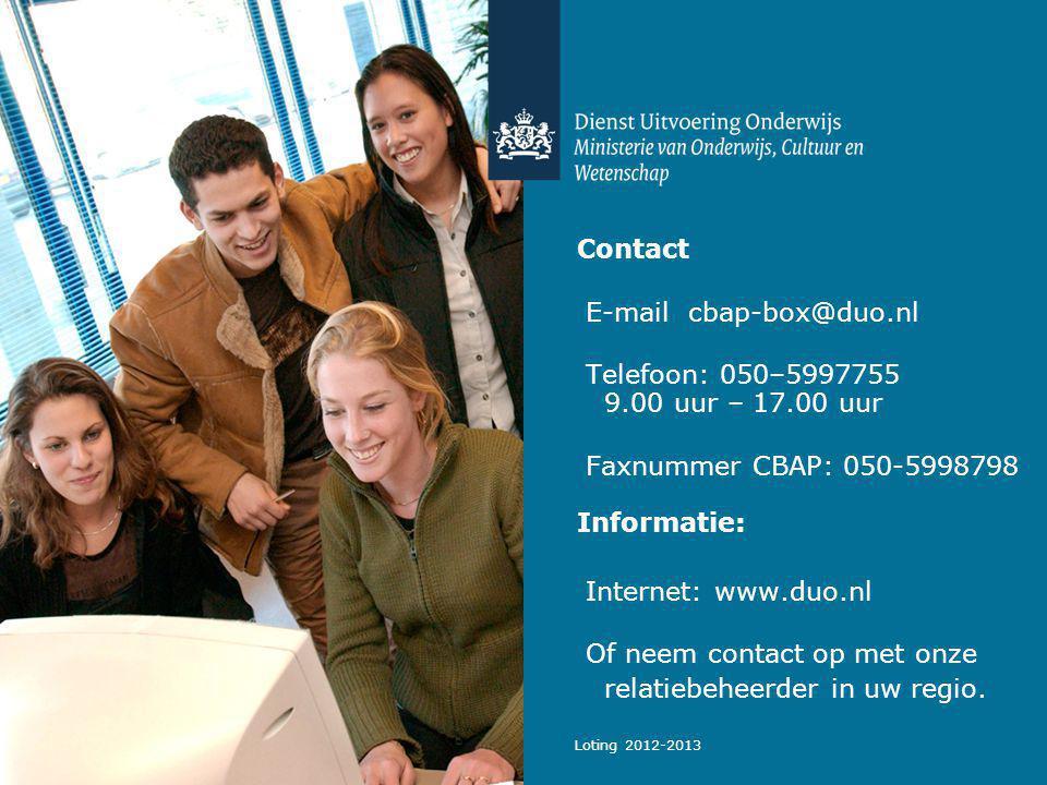 E-mail cbap-box@duo.nl Telefoon: 050–5997755 9.00 uur – 17.00 uur