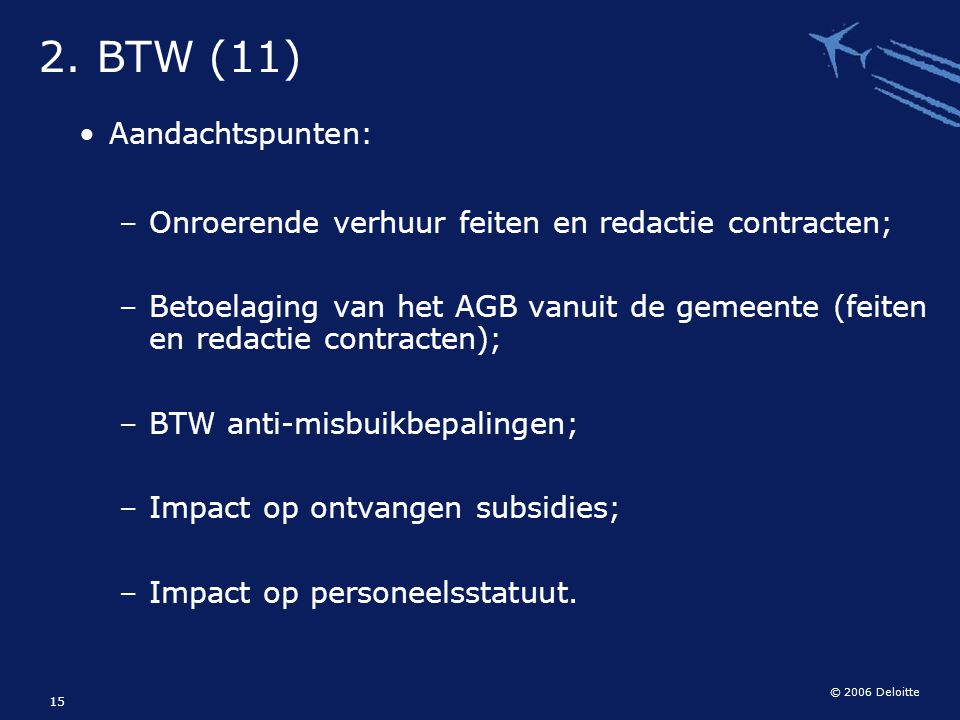 2. BTW (11) Aandachtspunten: