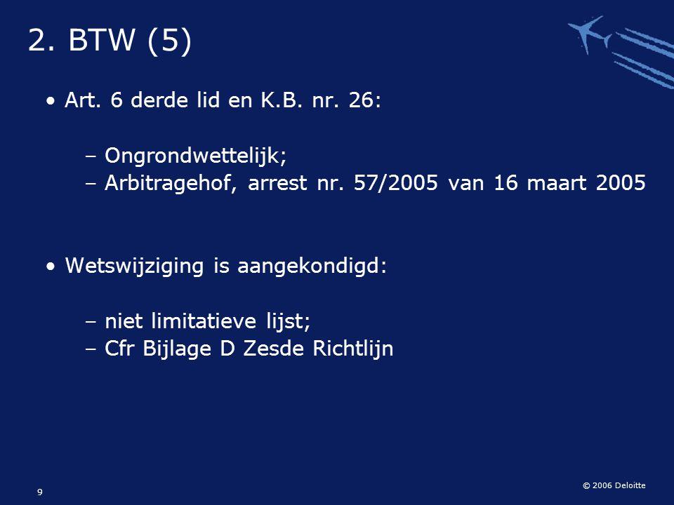 2. BTW (5) Art. 6 derde lid en K.B. nr. 26: Ongrondwettelijk;