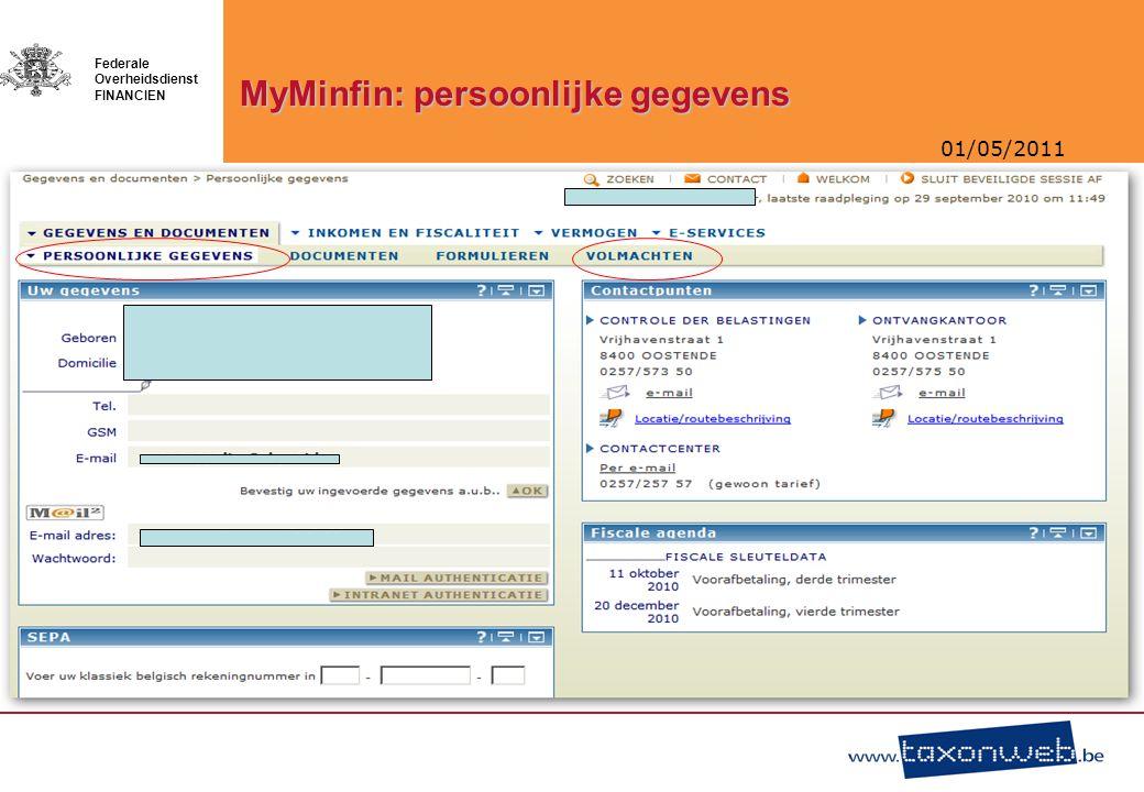 MyMinfin: persoonlijke gegevens