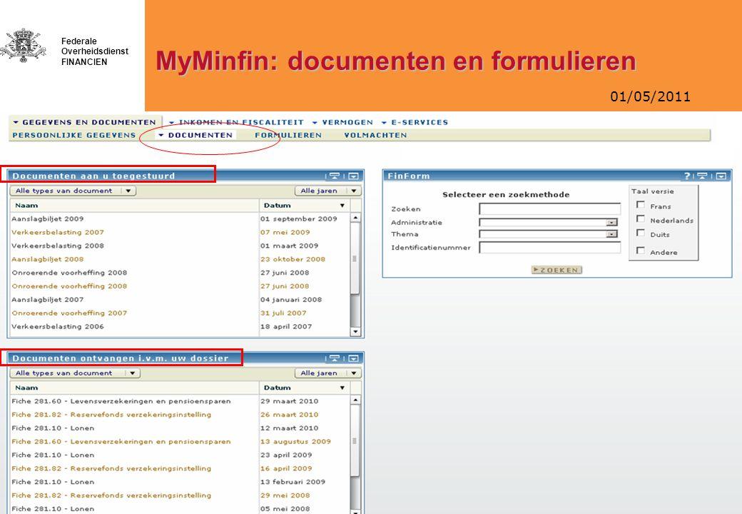 MyMinfin: documenten en formulieren