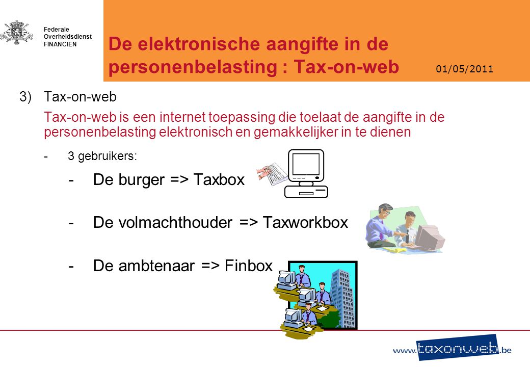 De elektronische aangifte in de personenbelasting : Tax-on-web