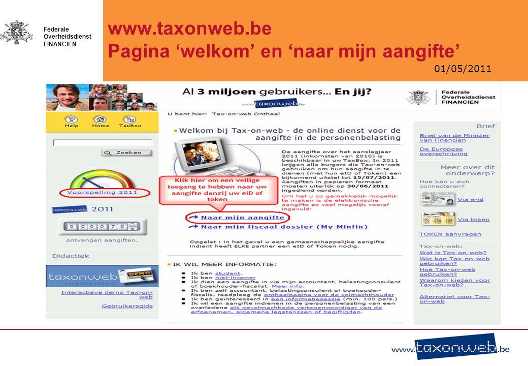 www.taxonweb.be Pagina 'welkom' en 'naar mijn aangifte'