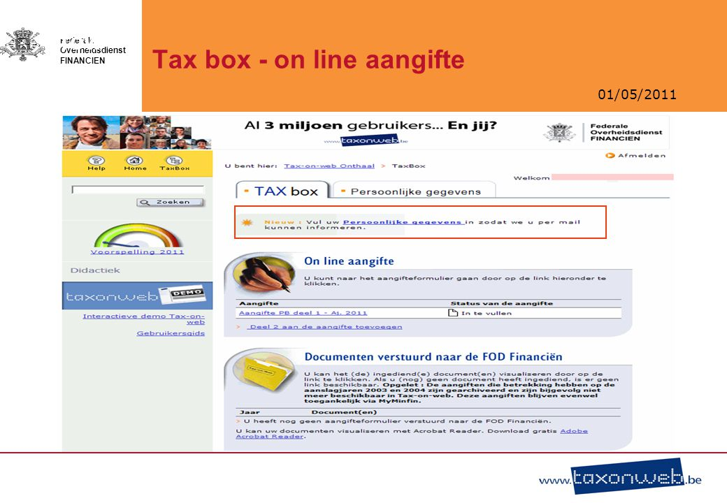 Tax box - on line aangifte