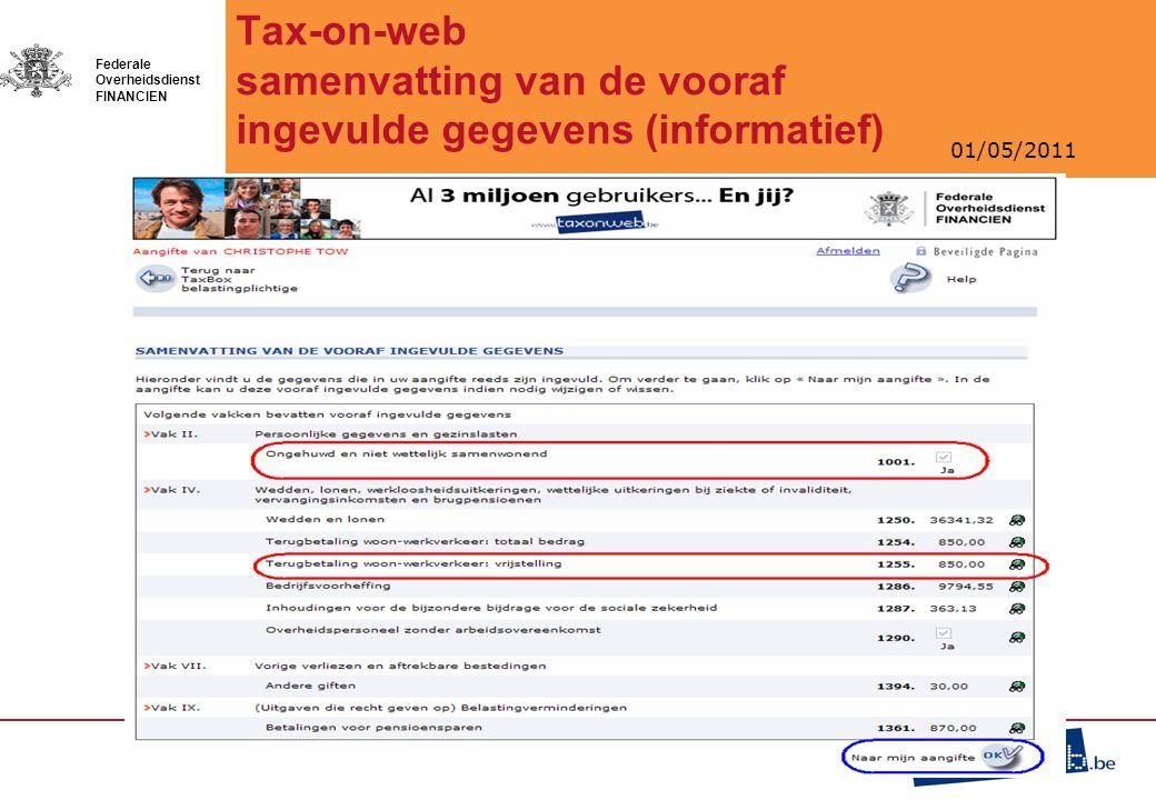 Tax-on-web samenvatting van de vooraf ingevulde gegevens (informatief)