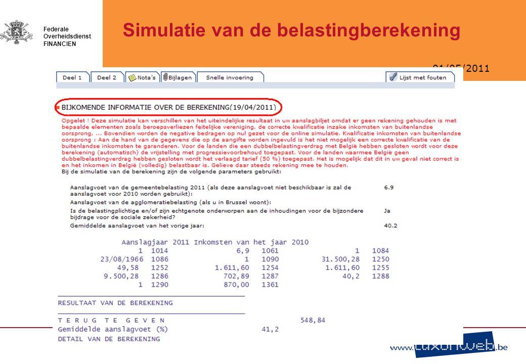 Simulatie van de belastingberekening