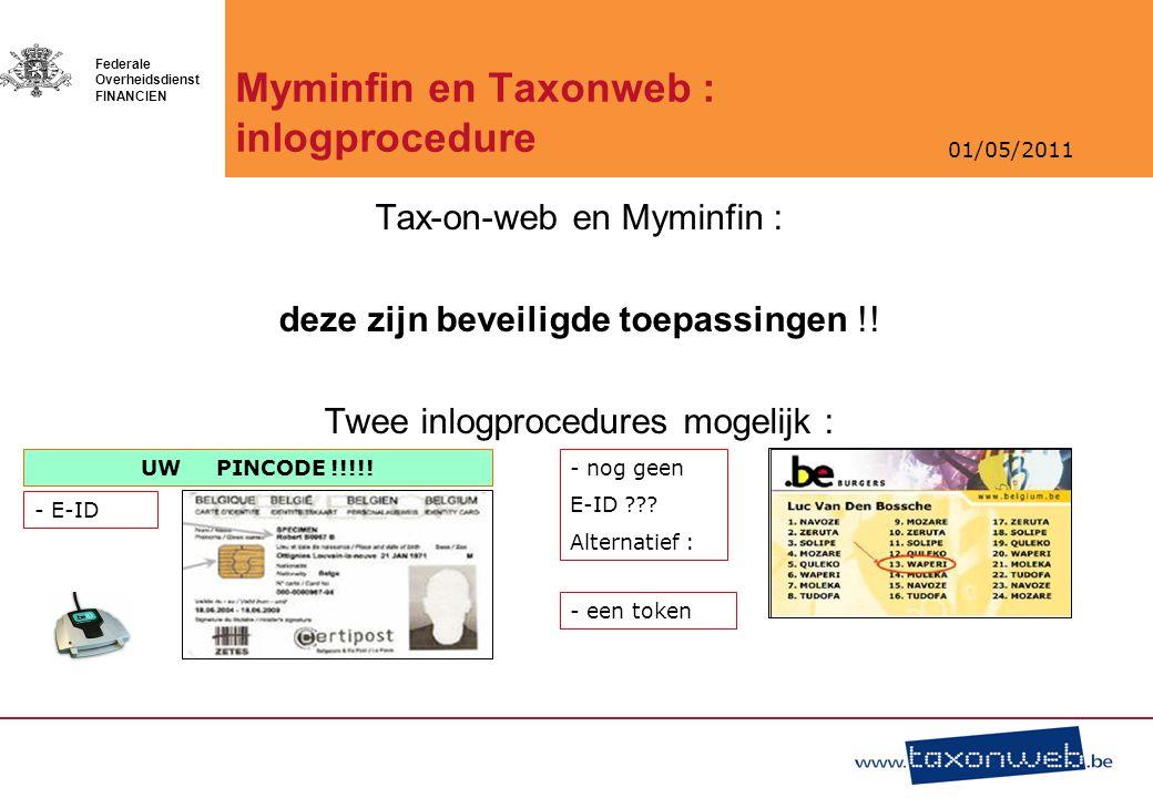 Myminfin en Taxonweb : inlogprocedure
