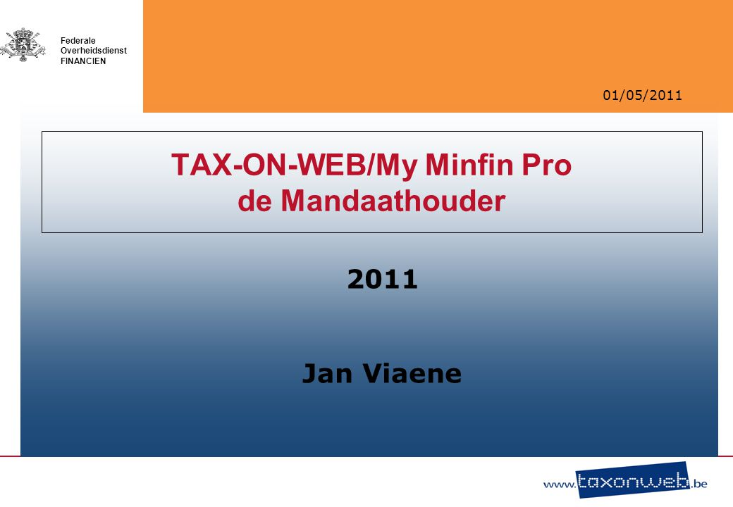 TAX-ON-WEB/My Minfin Pro de Mandaathouder