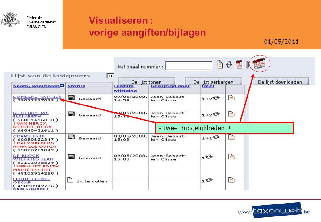 Visualiseren : vorige aangiften/bijlagen