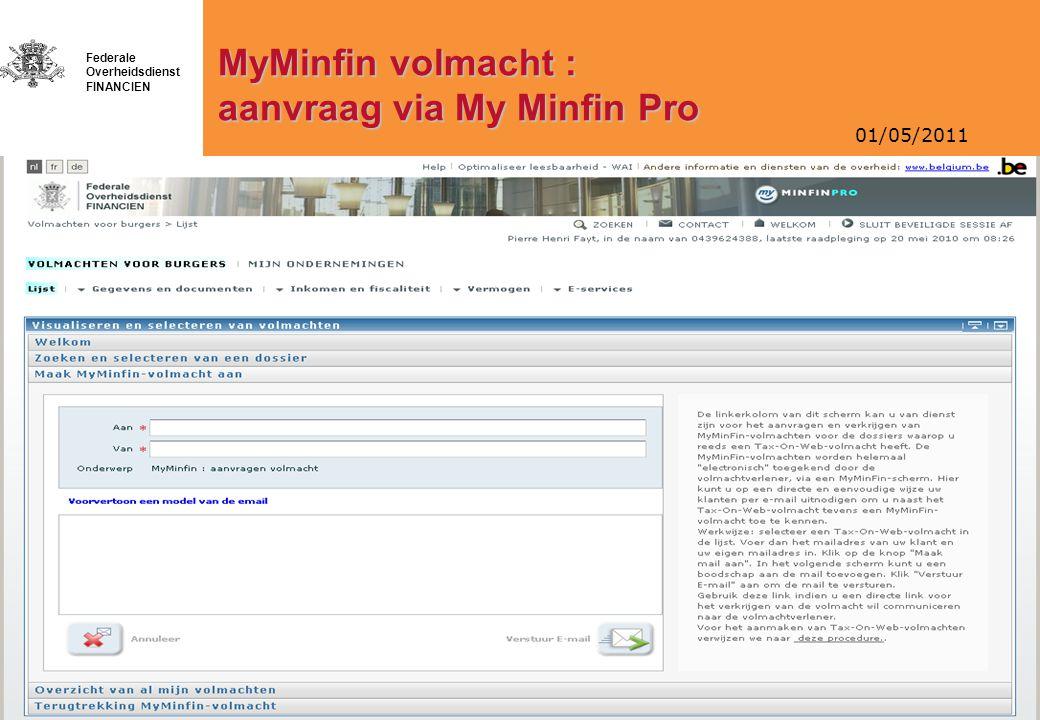 MyMinfin volmacht : aanvraag via My Minfin Pro