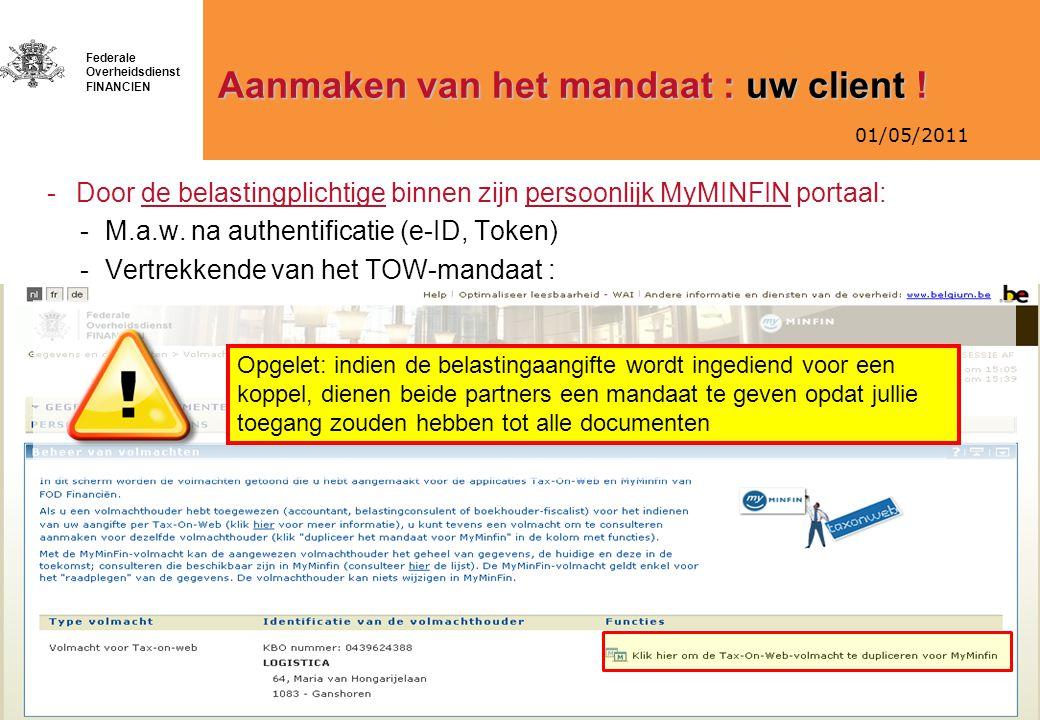 Aanmaken van het mandaat : uw client !