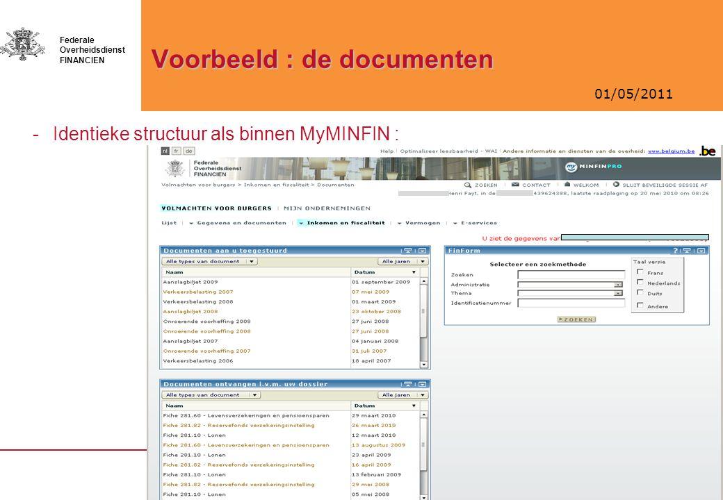 Voorbeeld : de documenten