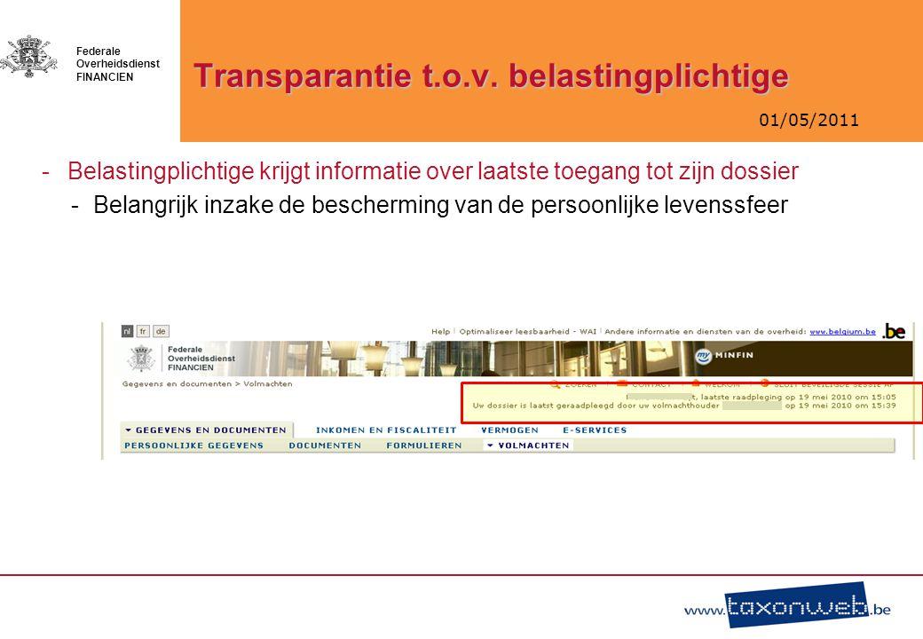 Transparantie t.o.v. belastingplichtige