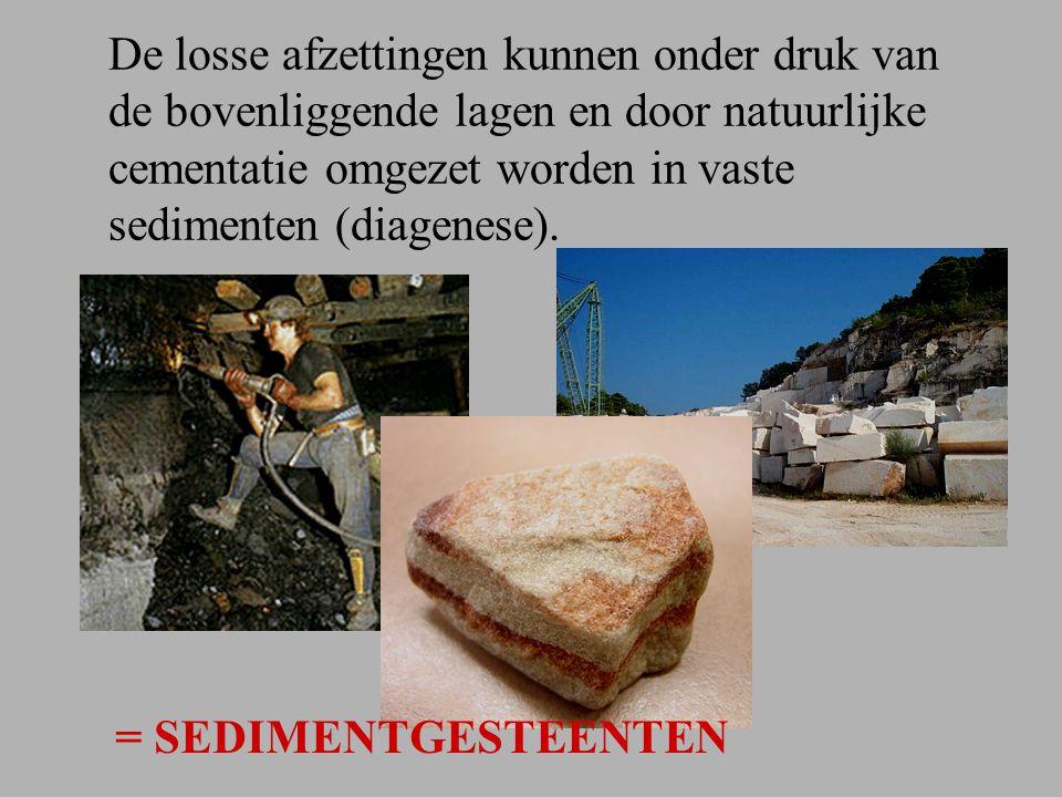 De losse afzettingen kunnen onder druk van de bovenliggende lagen en door natuurlijke cementatie omgezet worden in vaste sedimenten (diagenese).