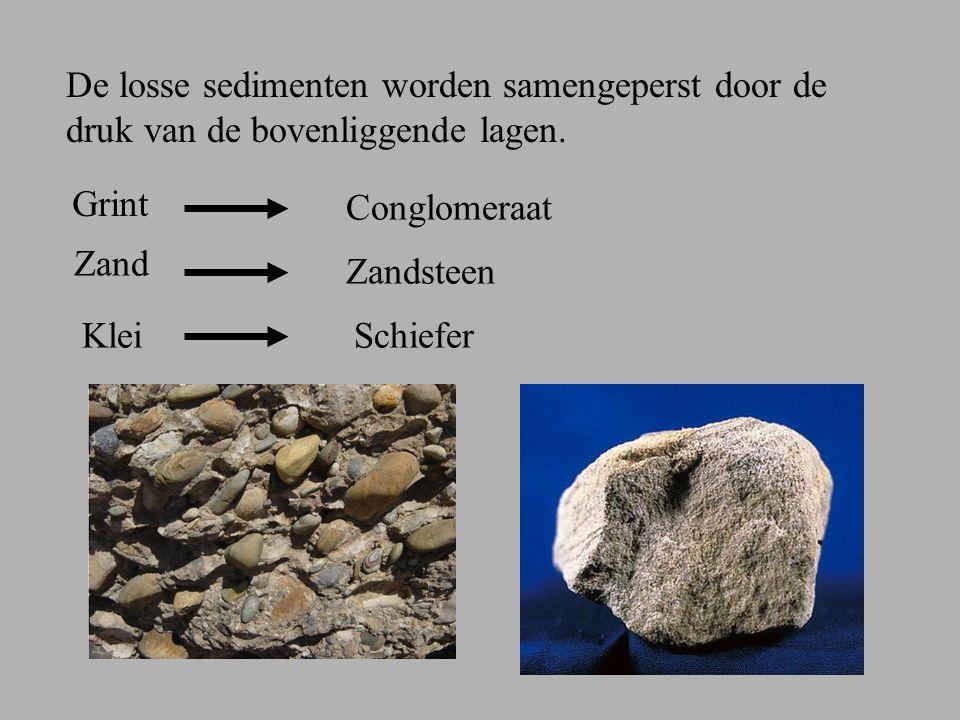 De losse sedimenten worden samengeperst door de druk van de bovenliggende lagen.
