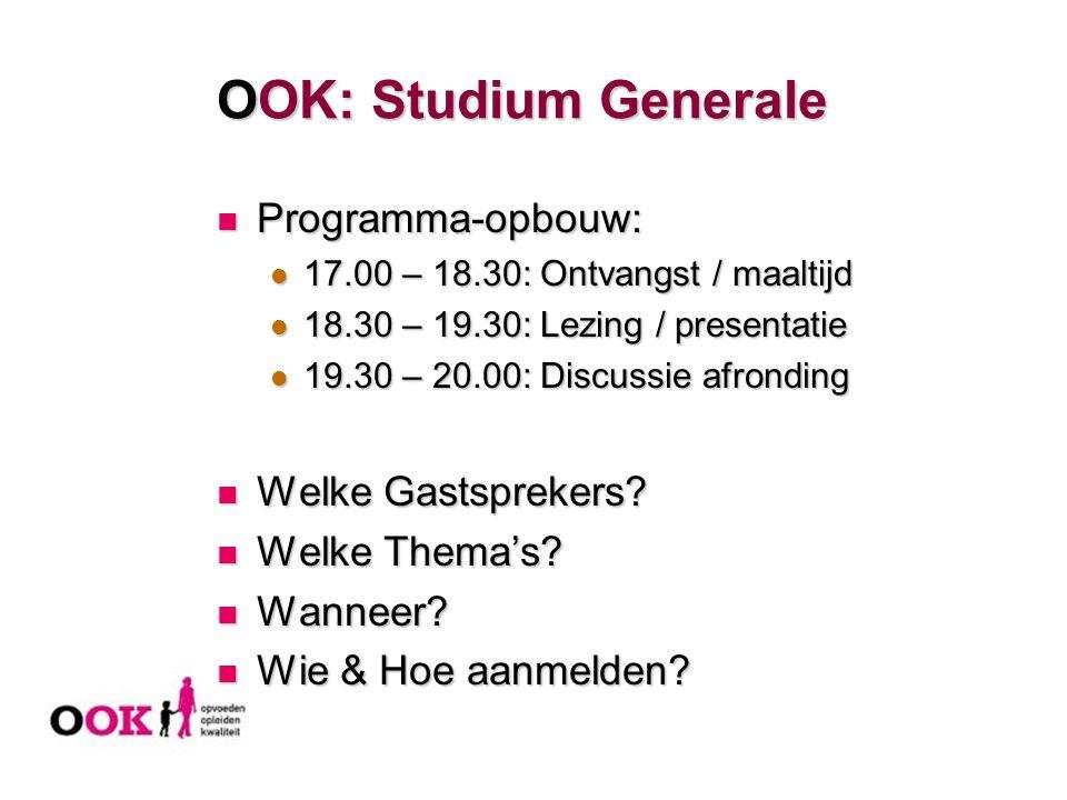 OOK: Studium Generale Programma-opbouw: Welke Gastsprekers