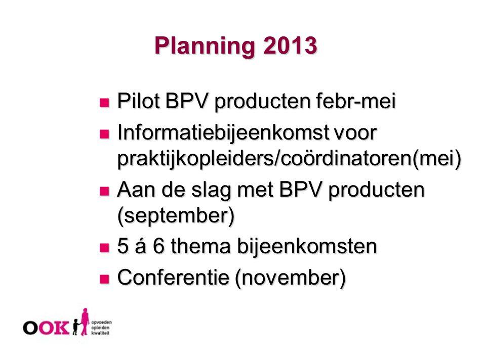 Planning 2013 Pilot BPV producten febr-mei