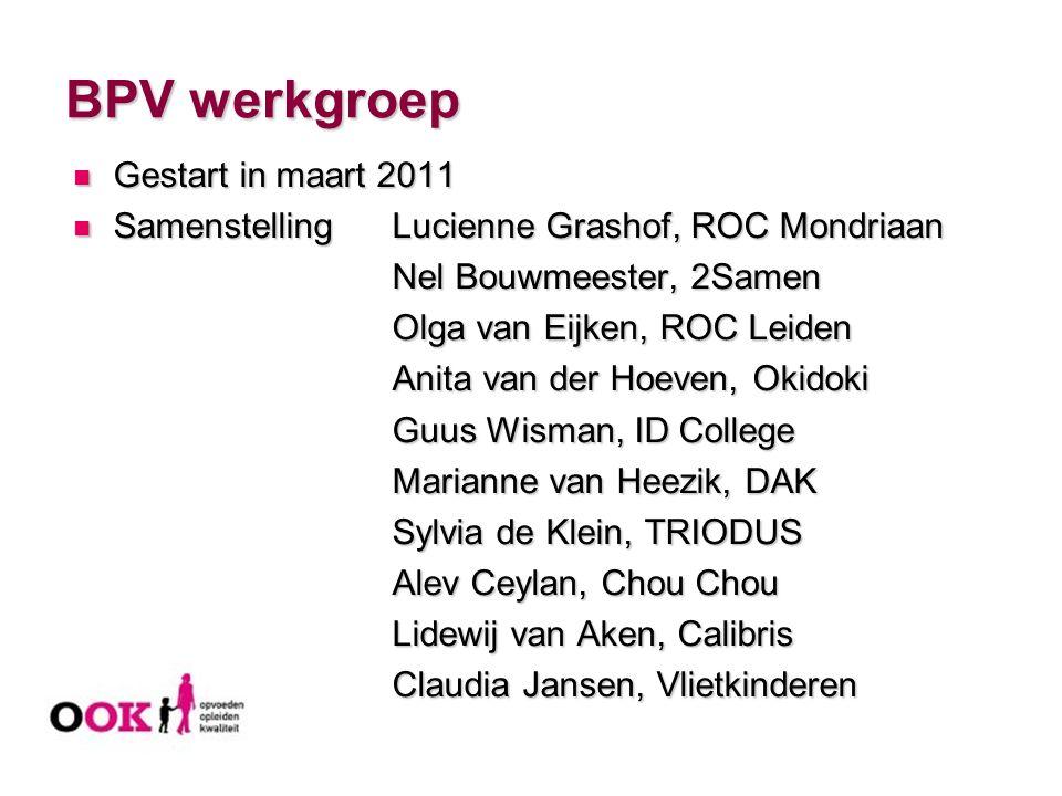 BPV werkgroep Gestart in maart 2011