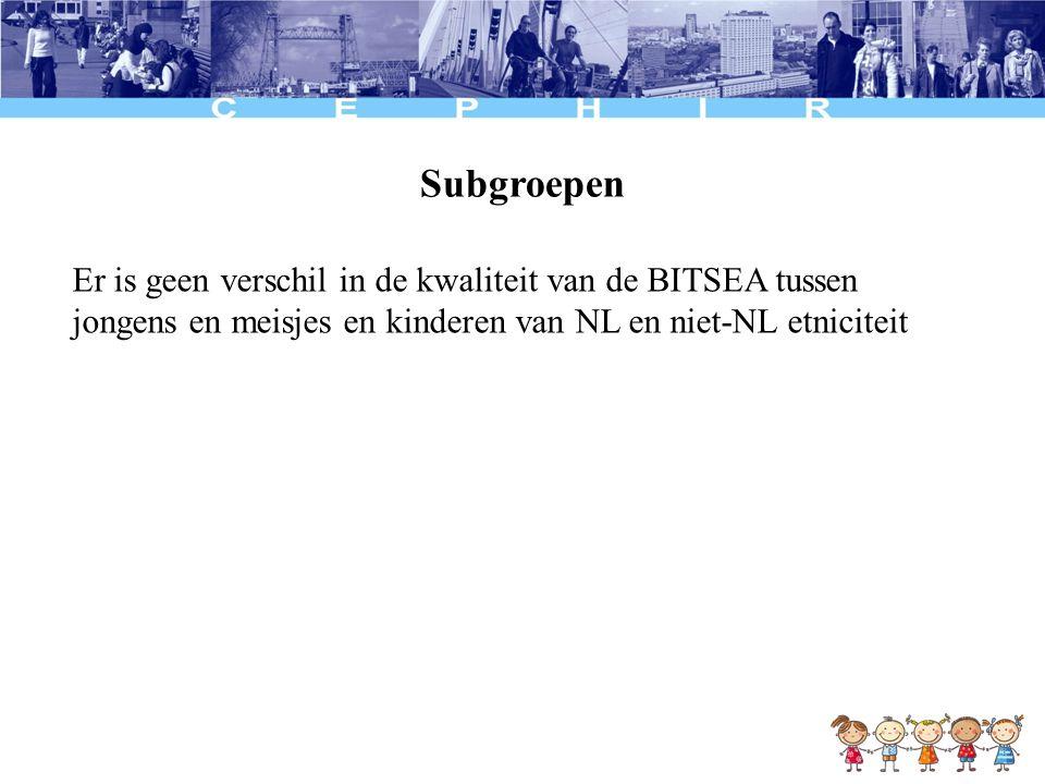 Subgroepen Er is geen verschil in de kwaliteit van de BITSEA tussen jongens en meisjes en kinderen van NL en niet-NL etniciteit.