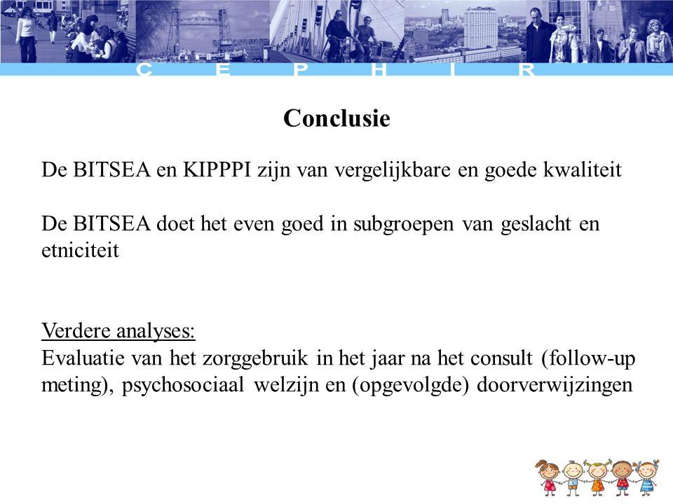 Conclusie De BITSEA en KIPPPI zijn van vergelijkbare en goede kwaliteit. De BITSEA doet het even goed in subgroepen van geslacht en etniciteit.