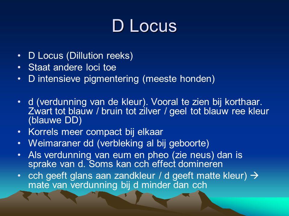 D Locus D Locus (Dillution reeks) Staat andere loci toe