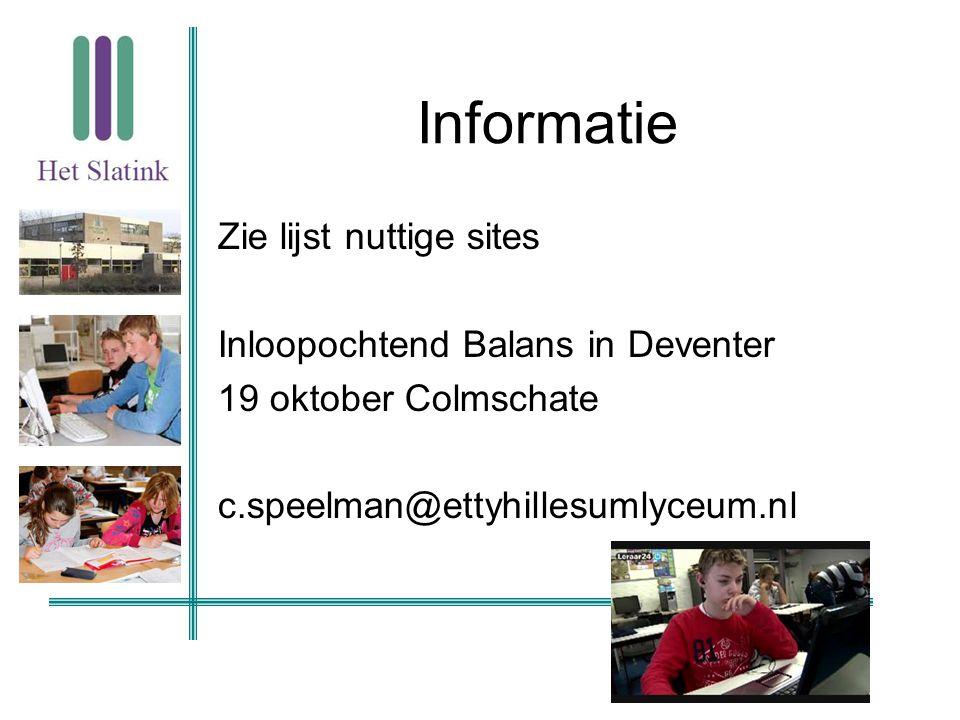 Informatie Zie lijst nuttige sites Inloopochtend Balans in Deventer