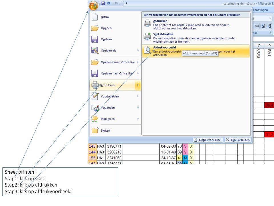 Sheet printen: Stap1: klik op start Stap2: klik op afdrukken Stap3: klik op afdrukvoorbeeld